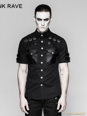 Black Gothic Handsome Military Uniform Short Sleeve Shirt for Men