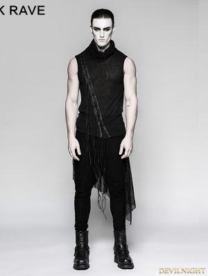 Black Gothic Small Stand Collar Heavy Punk Tassel Sleeveless Vest for Men