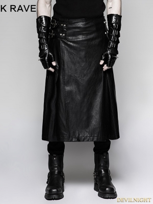 Black Gothic Punk Mens Simple Skirt with Waistbag