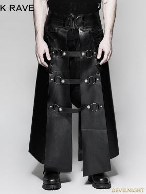 Black Gothic Punk Six Pieces Male Skirt for Men