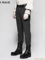 Black Pinstripe Simple Steampunk Trousers for Men