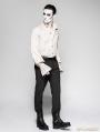 Black Pinstripe Simple Steampunk Trousers for Men