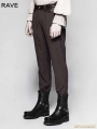 Coffee Pinstripe Simple Steampunk Trousers for Men