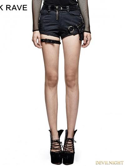 Spliced Dark Stripes Gothic Punk Shorts for Women