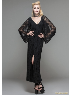 Black lacy long sleeves Gothic Maxi Dress