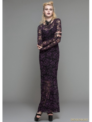 Purple Lace Romantic Gothic Long Dress