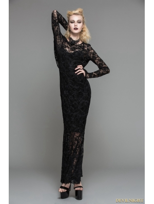 Black Lace Romantic Gothic Long Dress