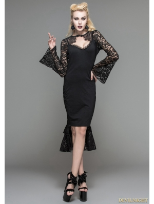 Black Gothic Pencil Midi Dress with Lace Sleeves