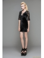 Black Velvet Half Sleeves Lace Short Dress