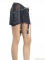 Black Gothic Punk Faux Leather Skirt