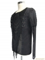 Black Gothic Hole Mesh Shirt for Men