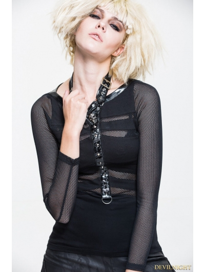 Black Gothic Punk Net Shirt for Women