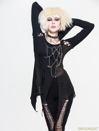 Black Gothic Punk Chain Shirt for Women
