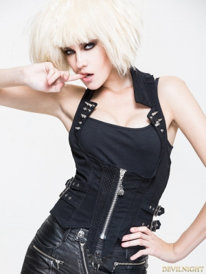 Black Gothic Punk Rivet Waistcoat for Women