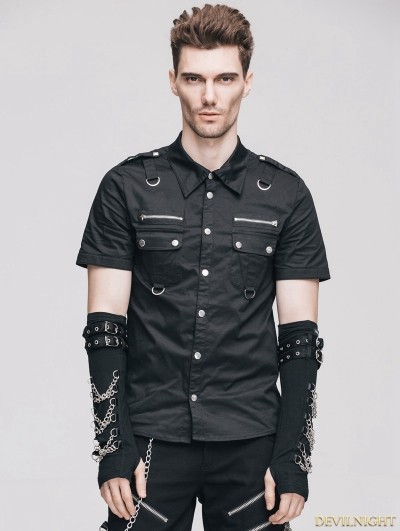 Black Handsome Gothic Punk Short Sleeves Shirt for Men