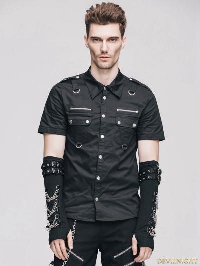 Black Handsome Gothic Punk Short Sleeves Shirt for Men