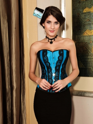 Blue Lace Victorian Overbust Corset