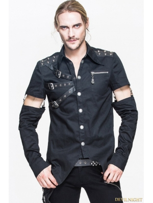 Black Gothic Punk Mens Shirt with Detachable Sleeves