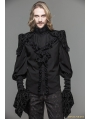 Black Gothic Long Sleeves Ruffles Shirt for Men