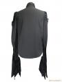 Black Gothic Long Sleeves Ruffles Shirt for Men