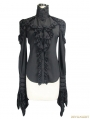 Black Gothic Long Sleeves Ruffles Shirt for Women