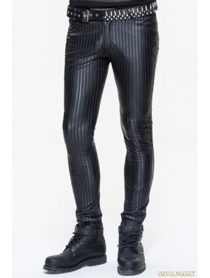 Black Gothic Stripe Trousers for Men