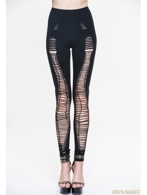 Black Gothic Hole Legging for Women