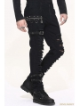 Black Gothic Punk Buckle Blet Trousers for Men
