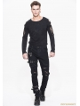 Black Gothic Punk Buckle Blet Trousers for Men