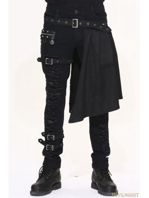Black Gothic Punk Removable Skirts Trousers for Men