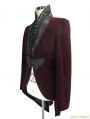 Wine Red Velvet Gothic Swallow Tail Jacket for Men