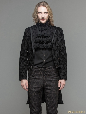 Black Gothic Vinatge Pattern Jacket for Men