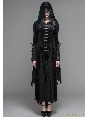 Black Velvet Gothic Vampire Style Hooded Dress Jacket