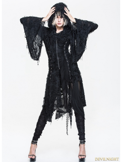 Black Gothic Hooded Tassle Jacket for Women