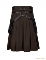 Coffee Steampunk Half Pleated Skirt for Men