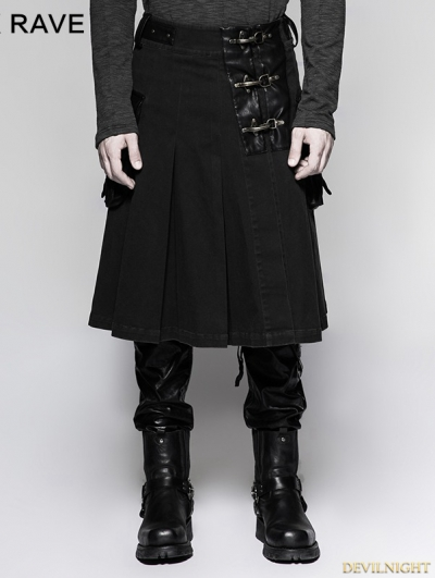 Black Steampunk Half Pleated Skirt for Men