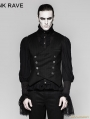 Black Gothic Gentleman Punk Stripe Chinese Style Buckle Vest for Men