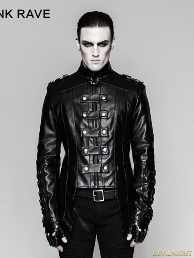 Black Gothic Heavy Punk Metal Military Uniform Short Coat