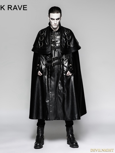 Black Long Cloak Steampunk Jacket for Men