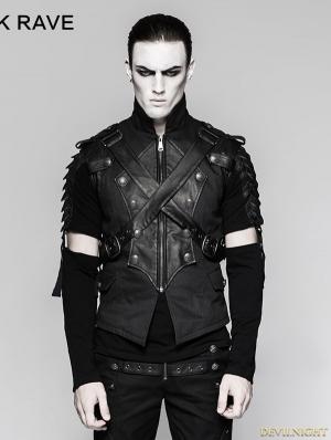 Black Gothic Military Uniform Cross Belt Vest for Men