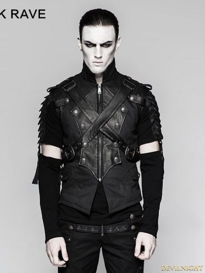 Black Gothic Military Uniform Cross Belt Vest for Men