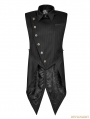 Black Gothic Punk Stripe Chinese Style Buckle Swallow-tail Vest for Men