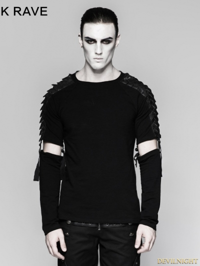 "Black Gothic Punk Minimalist Diablo ""Warrior "" Detachable Long Sleeve Mens T-shirt"