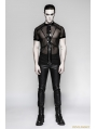Black Gothic Punk Minimalist Dense Mesh Cross Chain T-shirt for Men