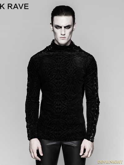 Black Gorgeous Gothic Long Sleeve T-shirt for Men