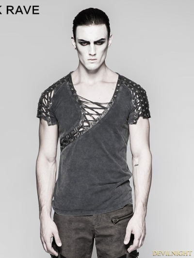 Steampunk Asymmetric Neck T-shirt for Men