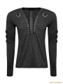 Black Chest Strap Steampunk Long Sleeve T-shirt for Men
