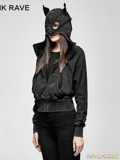 Black Gothic Punk Dark Bats Loose Short Hoodie for Women