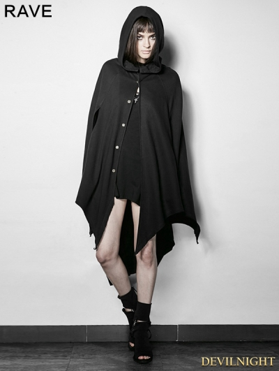 Black Gothic Dark Bats Tapered Conical Hat Cloak for Women