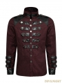 Red Gothic Loop Military Uniform Long Sleeve Shirt for Men